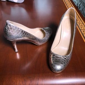 Kate Spade Silver Gold Snakeskin Textured Pumps